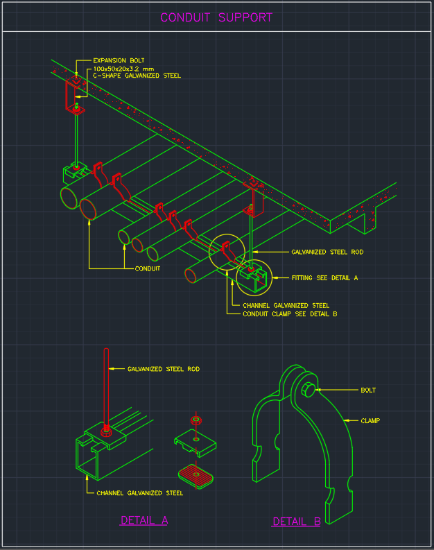 Conduit Support Cad Block And Typical Drawing For