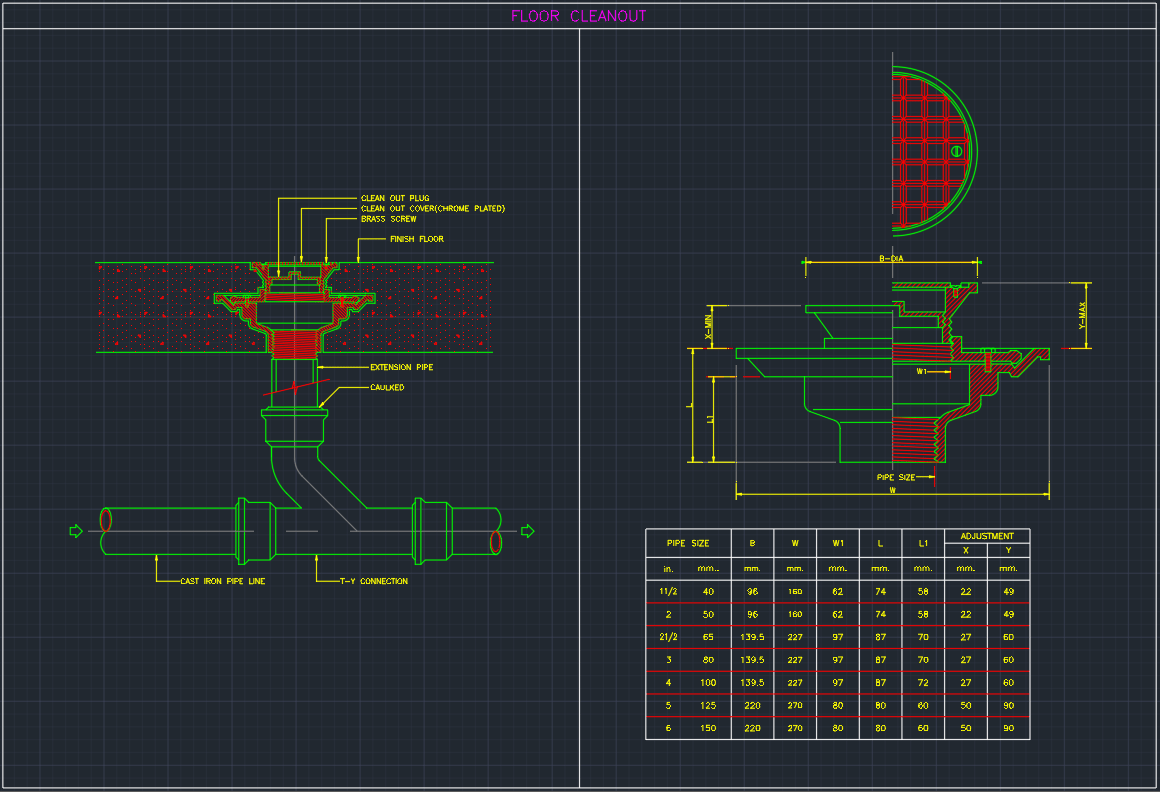 Floor Cleanout Cad Block And Typical Drawing For Designers