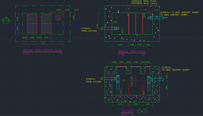 Grease Trap Cad Block And Typical Drawing For Designers