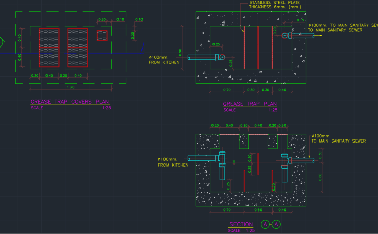 Grease Trap Waste Cad Block And Typical Drawing For