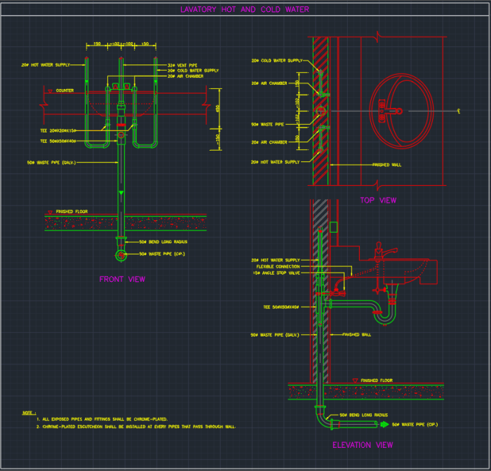 Lavatory Hot And Clod Water Autocad Free Cad Block