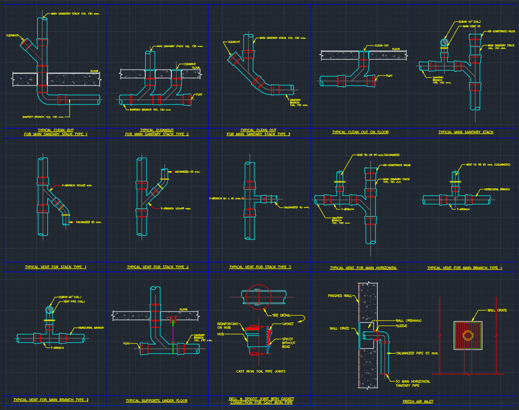 Plumbing Cleanout Cad Block And Typical Drawing For