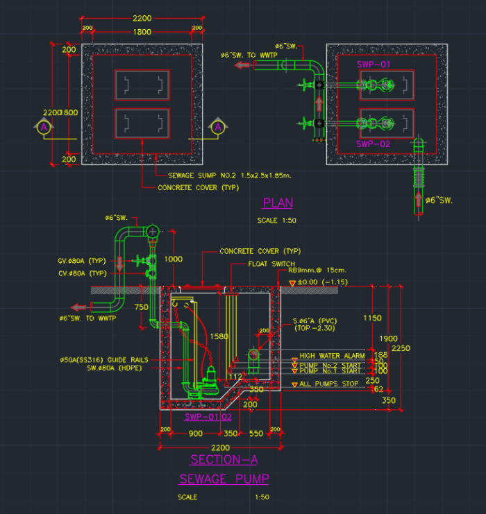 Sewage Pump Cad Block And Typical Drawing For Designers
