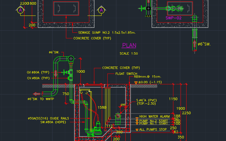 Sump Pump Installation Cad Block And Typical Drawing