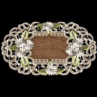 embroidered daisy on brown placemat