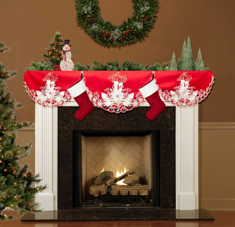 embroidered white candle fireplace mantle scarves
