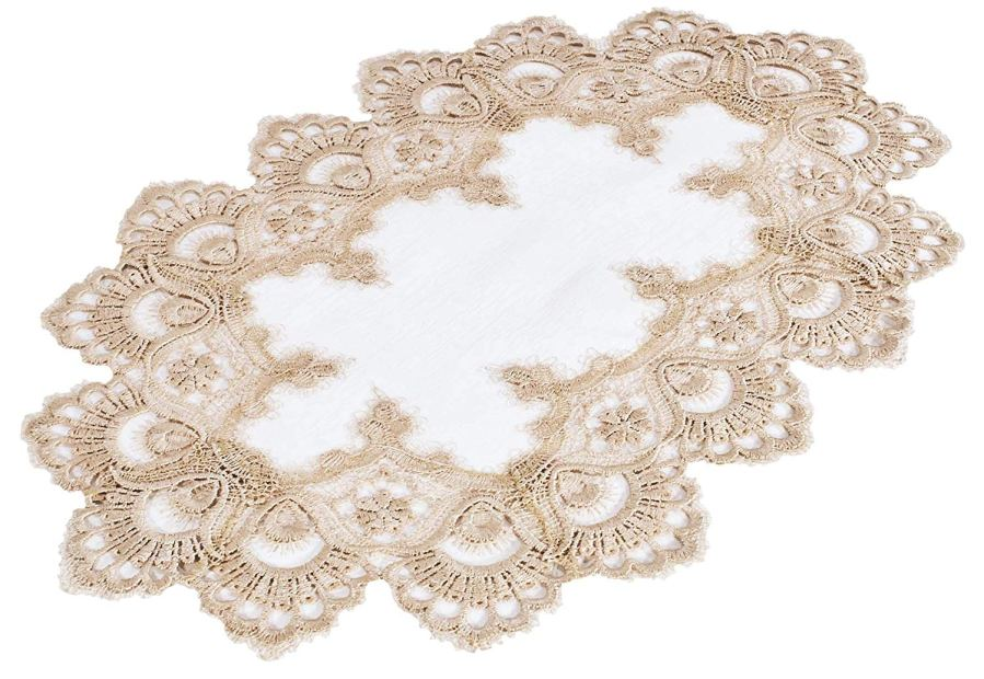 european peacock gold lace placemat