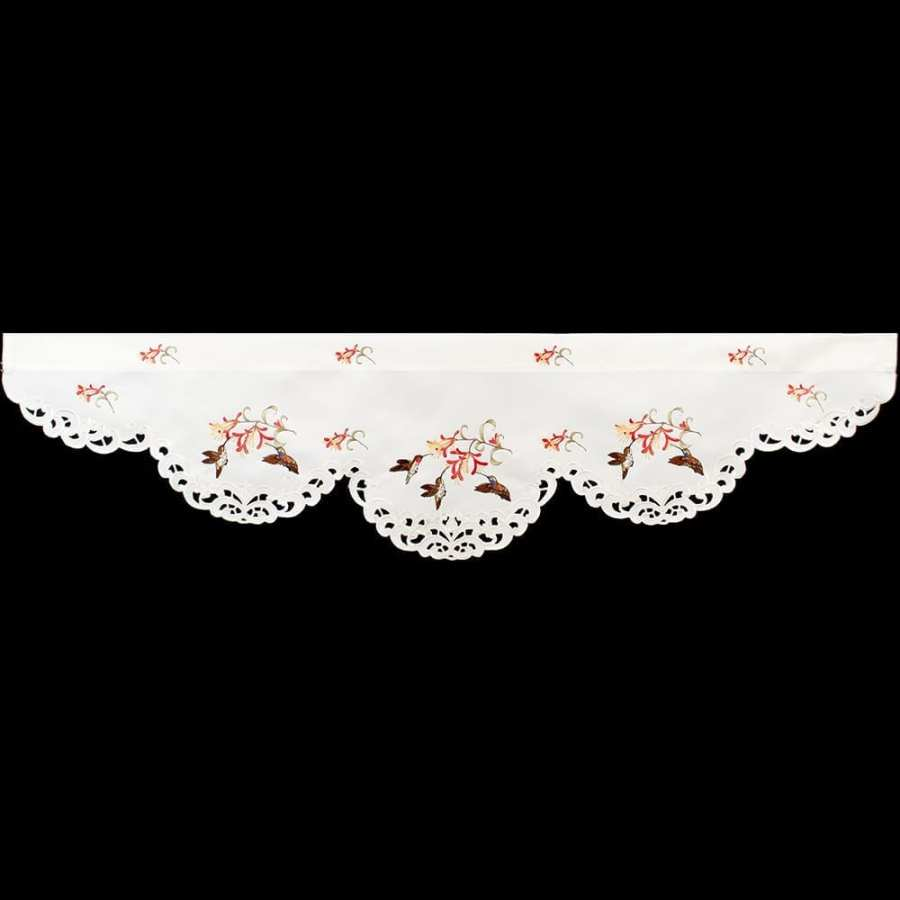 embroidered hummingbird honeysuckle window valance