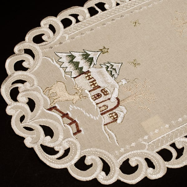 embroidered christmas winter snow scene place mat-set of 2