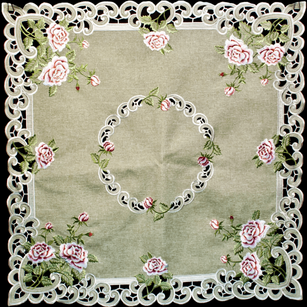 antique pink rose table topper small tablecloth