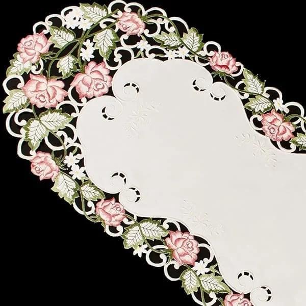 Pink Rose Linen Table Runner