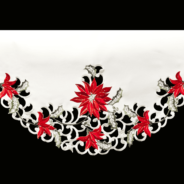 embroidered poinsettia fireplace mantle scarves