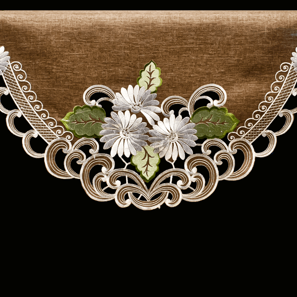 embroidered fireplace mantel scarf white daisy on brown