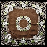 embroidered white daisy on brown table topper – 44×44
