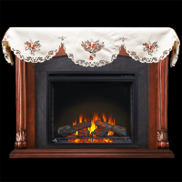 embroidered fireplace mantel scarf with burgundy rose 19″ x 90″