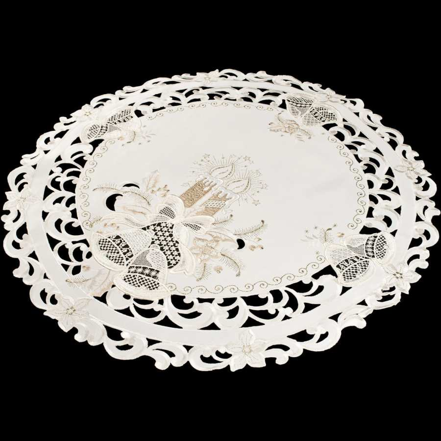 embroidered candle & lace bell round doily