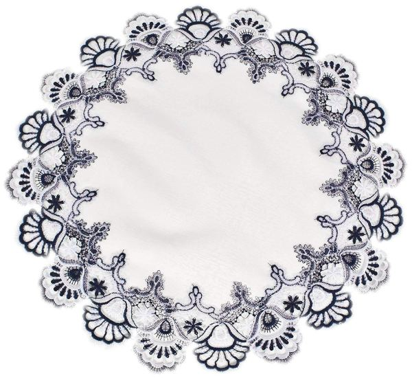 navy blue peacock lace round doily