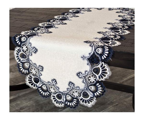 navy blue peacock tail lace table runner