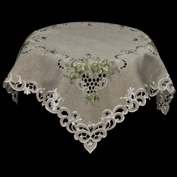 embroidered green leaf table topper