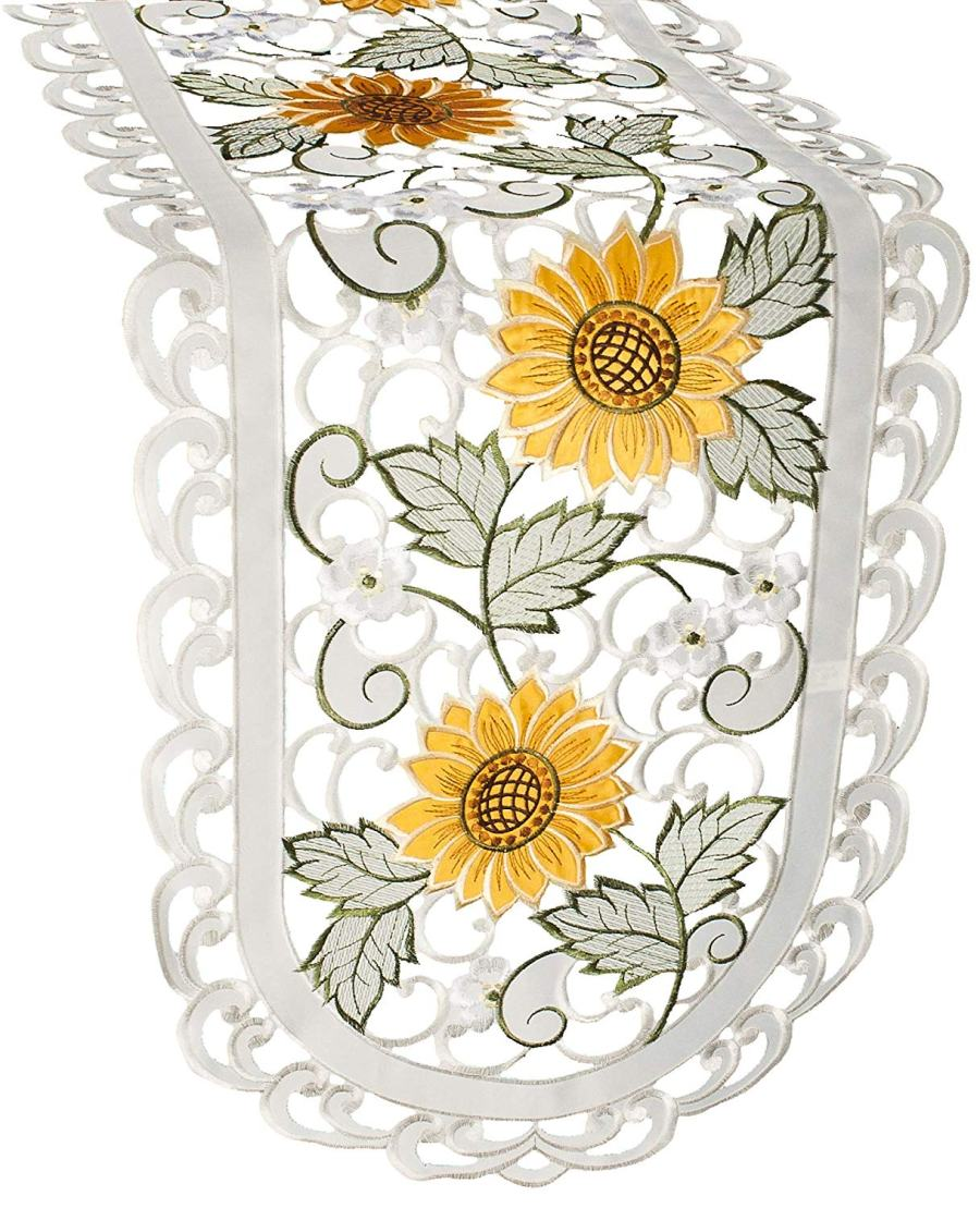 embroidered sunflower cutwork table runner