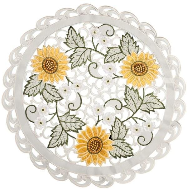 embroidered cutwork sunflower round doily