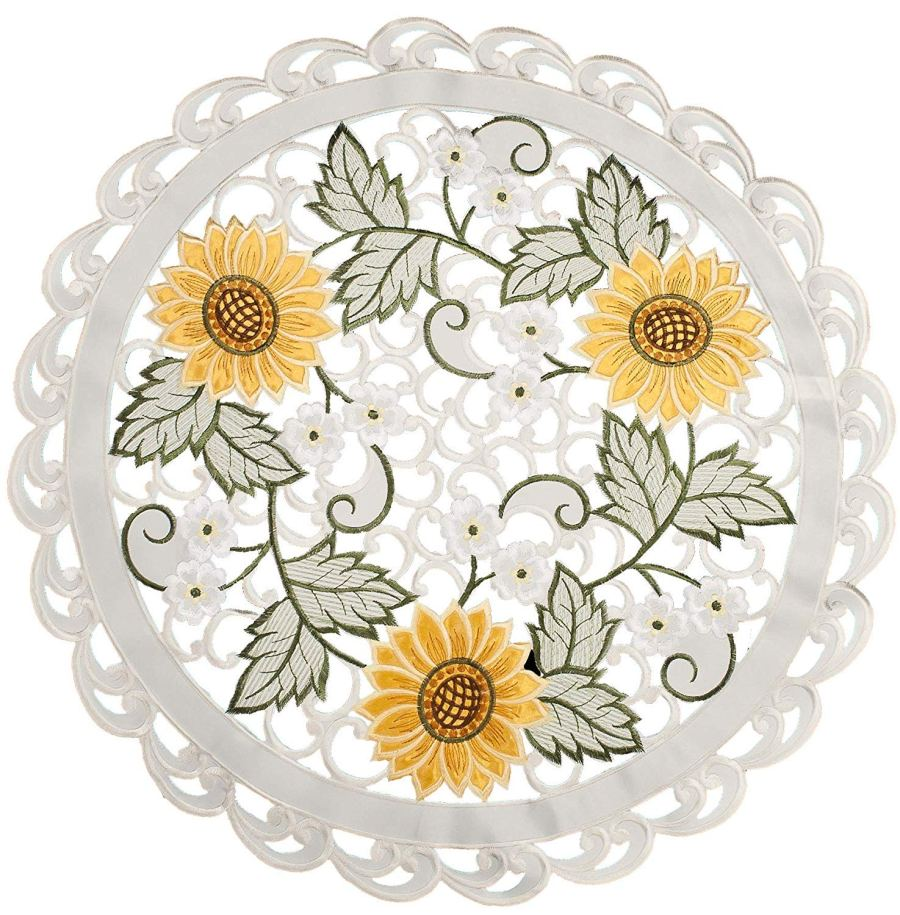 embroidered cutwork sunflower round doily