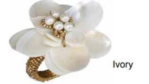 mother of pearl flower napkin rings (set of 4)