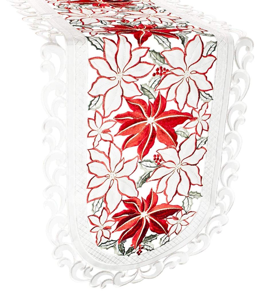embroidered large poinsettia table runner – 16 x 35 oval