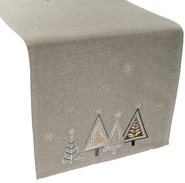 embroidered modern triangle christmas trees table runner – 16 x 35 rectangle