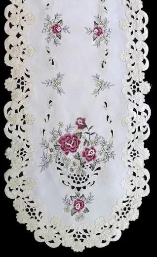 embroidered burgundy rose table runner
