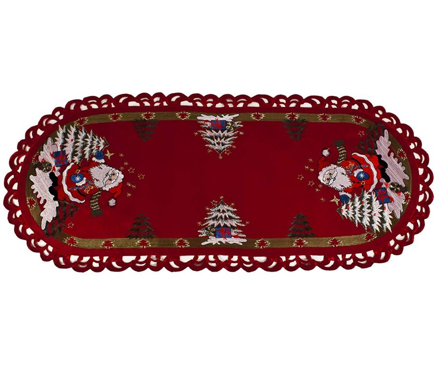 embroidered christmas santa claus table runner