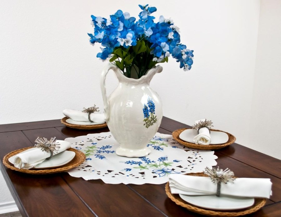 round doily floral blue bonnets on white