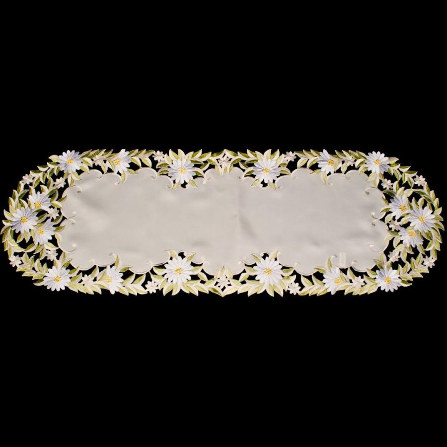embroidered white daisy table runner