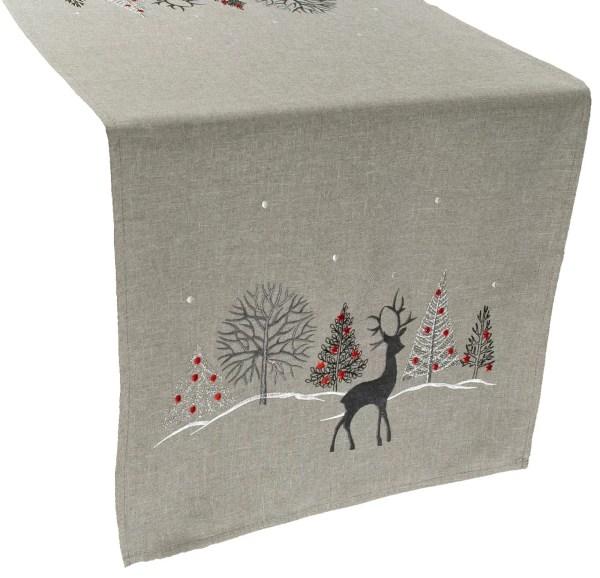embroidered christmas reindeer christmas scene table runner – 16 x 70 rectangle