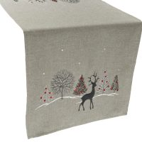embroidered christmas reindeer christmas scene table runner – 16 x 70 rectangle