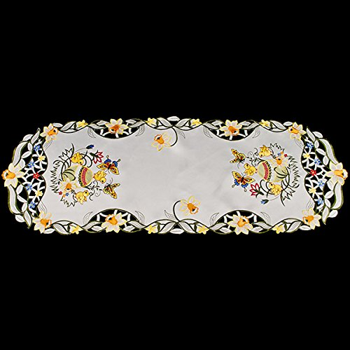 embroidered easter eggs table runner