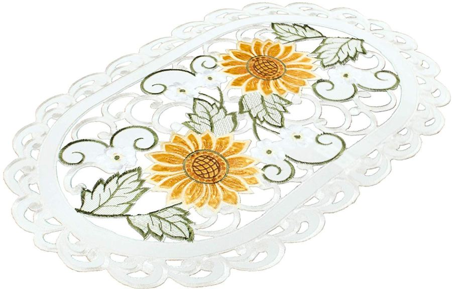 embroidered cutwork sunflower placemat
