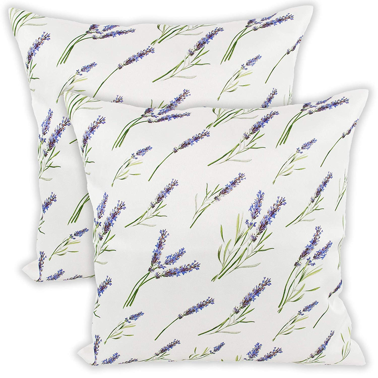 Throw Pillow Case Lavender Flowers On Ivory Cushion Covered Zipper