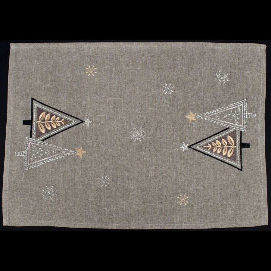 embroidered modern triangle christmas trees on gray placemat