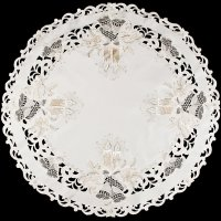 christmas gold candle and lace bell 36″ round doily