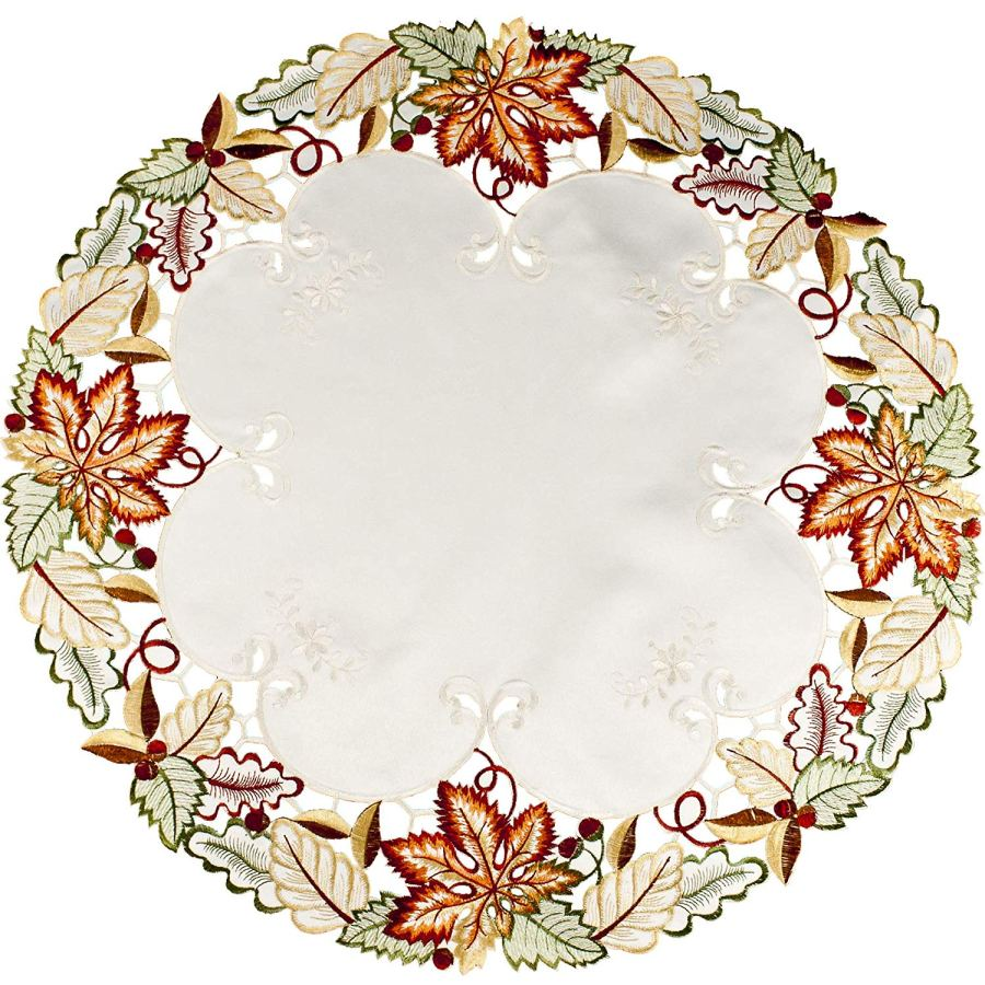 fall maple leaf 24″ round  doily