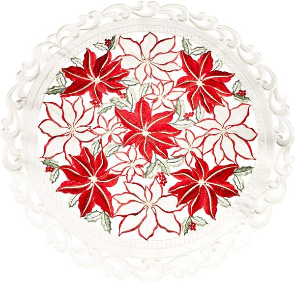 embroidered poinsettia round doily
