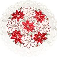 embroidered poinsettia round doily