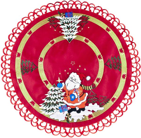 24″ inch embroidered santa claus doilies