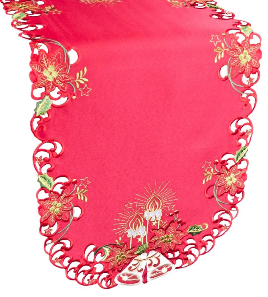 embroidered christmas candle red table runner