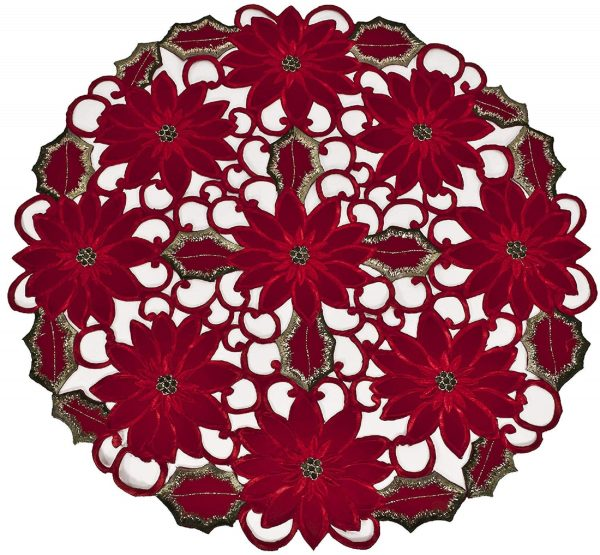embroidered poinsettia round doily – 24""