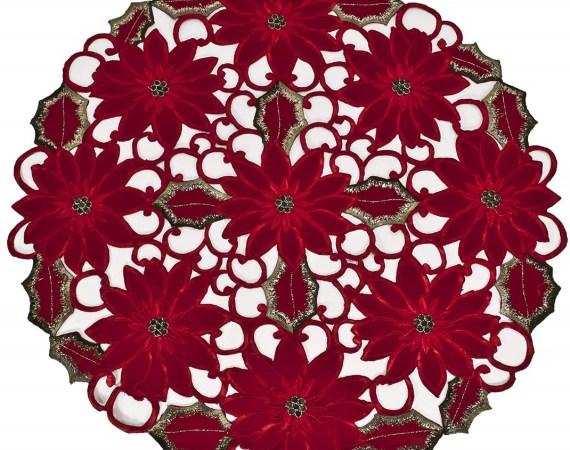 """embroidered poinsettia round doily – 24"""""""