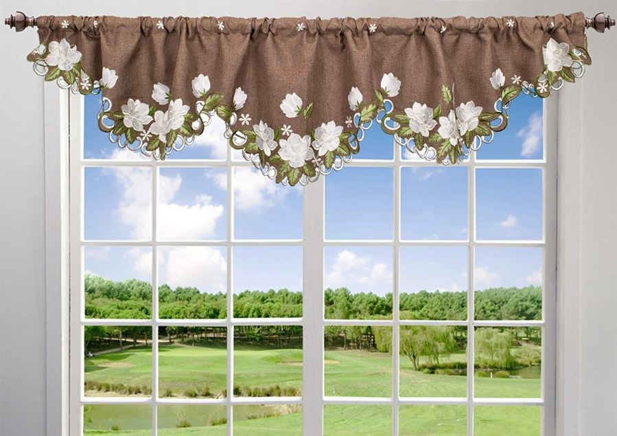 embroidered white magnolia window valance