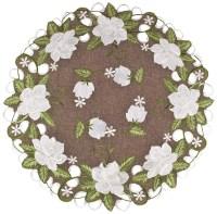 "embroidered white magnolia round doilies – 24"""