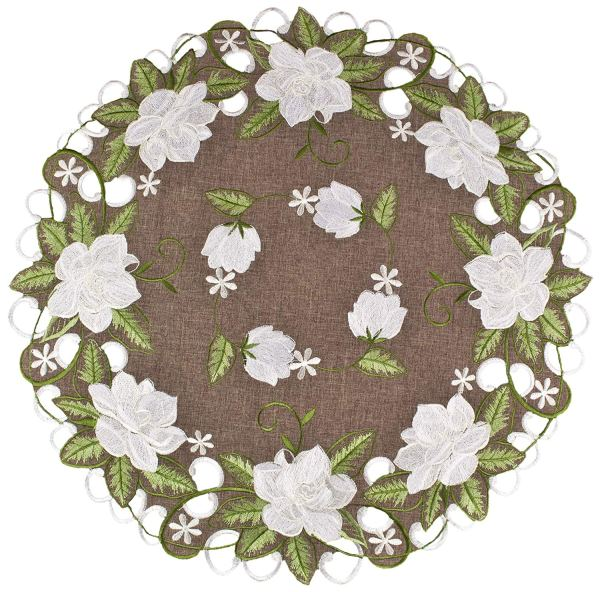 embroidered white magnolia round doilies – 24""